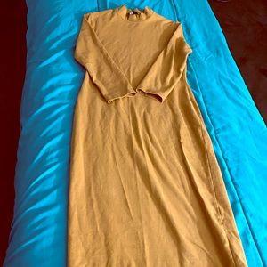 Mustard color bodycon dress